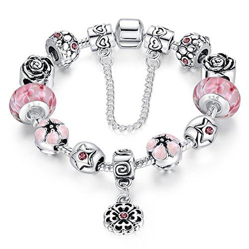 A TE® Bracciale Charm Beads Fiori di Vetro Smalto Catena Sicurezza Regalo Donna #JW-B107 (Rosa)
