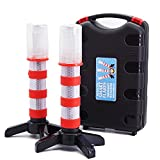 2 LED Emergency Road Flares Red Roadside Beacon Safety Strobe Light Warning Signal Alert Magnetic Base and Upright Stand in Solid Storage case for Car Marine Vehicles Trucks