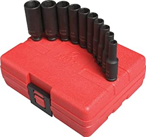 "Sunex Tools 1830 1/4"" Drive Deep Fractional Magnetic Impact Socket Set - 10 Piece"