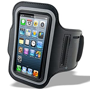 Sunwire® iPhone 5 / 5C Premium Neoprene Sports Armband Protective, Shock & Sweat Resistant Case / Cover (BLACK)
