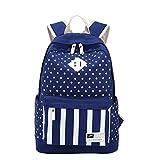 Qiaoshubao ファッション水玉とストライプキャンバスラップトップバックパックかわいいトラベル学校学生は、10代の少女/学生/女性のためのバッグ/ランドセル/デイパックショルダー (暗い青)