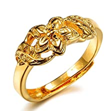 buy Top Quality Wedding Ring 18K Yellow Gold Plated Flower Shape Women Ring Adjustable Finger Ring, Wholesaler 009