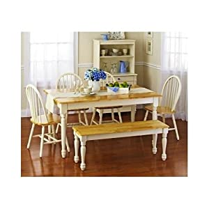 Oak dining set 6 piece traditional white and for Traditional kitchen table sets