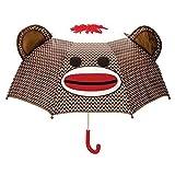 Sock Monkey Umbrella (Color: Brown, Tamaño: One-Size)