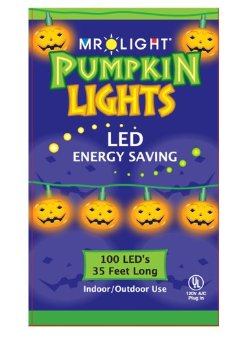 Mr. Light 33ft 100 LED Energy Saving Pumpkin String Lights for Indoor or Outdoor Use (2ft lead wire)