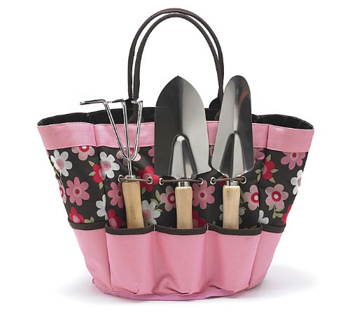 Gardening Tools in a Brown & Pink Floral Nylon Garden Tool Tote Gift Set