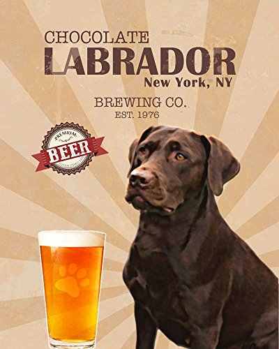 Chocolate Labrador Brewing Co. Vintage Dog Poster Print 11X14 - Customizable City And State- Please Email Directly After Purchase