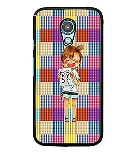 PrintDhaba Shouting Girl D-2608 Back Case Cover for MOTOROLA MOTO G2 (Multi-Coloured)