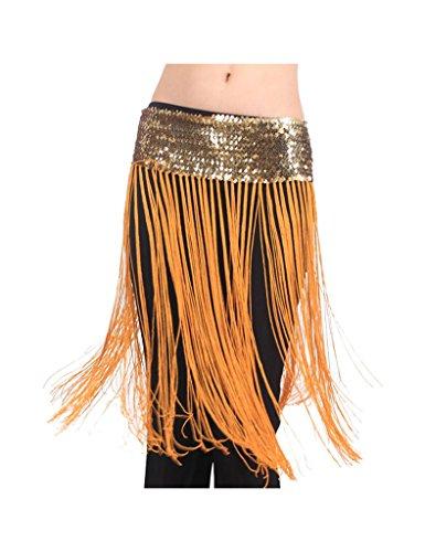 Zacoo Long Tassel Sequins Belly Dance Costume Hip Skirt Scarf Wrap Belt Color Gold