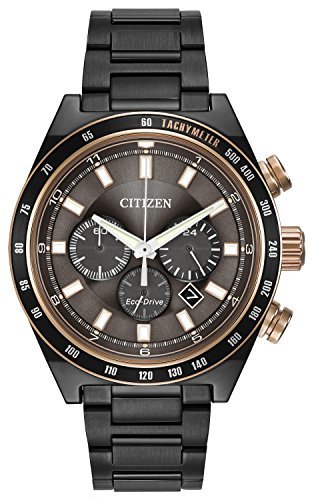 Citizen Watch men's quartz Watch with black Dial chronograph Display and black stainless steel plated Bracelet CA4207-53H