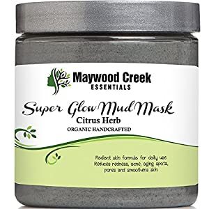 Facial Mud Mask Super Glow - Organic Ingredients - Includes Ebook - Smooths Skin and Reduces Pores, Improves Aging Spots, Redness, Blemishes, Cystic Acne, Pimples, Blackheads - Reduces Fine Lines