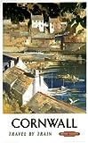 British Railways English Travel Art Poster Print, Cornwall England, Travel by Train