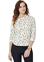 Chumbak Women's Button Down T-Shirt (CSW002 L_Off White_L)