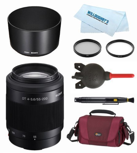 Sony SAL55200-2 DT55-200mm F4-5.6 SAM Lens + Case + Sony Hood + Lens Pen + Giotto's Blower + Filter Kit