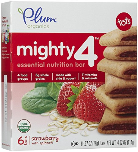 Plum Organics Mighty 4 Essential Nutrition Bars Bundle, Strawberry with Spinach & Blueberry with Carrot (1 Box of Each)