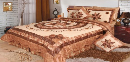 Dada Bedding Bm6123L Honeymoon Polyester Patchwork 5-Piece Comforter Set, Queen/Full, Brown front-988853