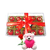 Nicely Wrapped Choco Gift Box Treat With Teddy And Rose - Chocholik Luxury Chocolates