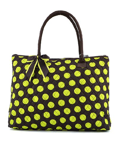 Quilted Polka Dot Large Tote Bag (Brown/Lime)