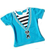 blue short sleeves stripes printing color matching Kid