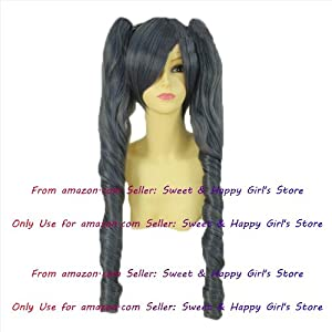 NEW double pony tail Black Curly Anime cosplay wigs party Masquerade girls 30CM + 75CM (2 IN 1)