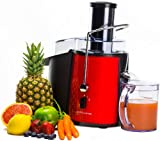 Andrew James Professional Whole Fruit Power Juicer In Stunning Red 990 Watts, Includes 2 Year Warranty, Juice Jug And Cleaning Brush