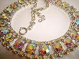 Glamourous vintage 1950s inspired aurora borealis rhinestone necklace with Swarovski rhinestones