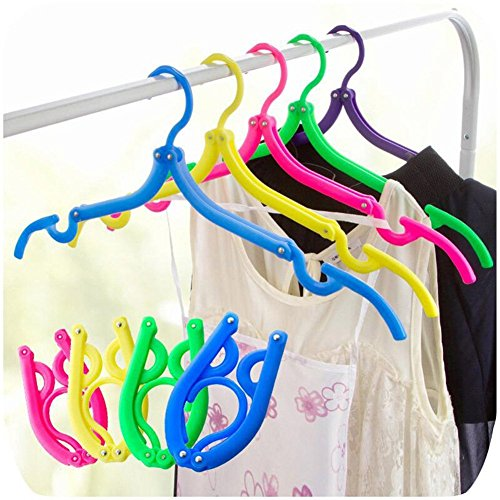 Kiccoly 10PCS Portable Folding Clothes Hangers Clothes Drying Rack for Travel (Travelling Clothes Rack compare prices)