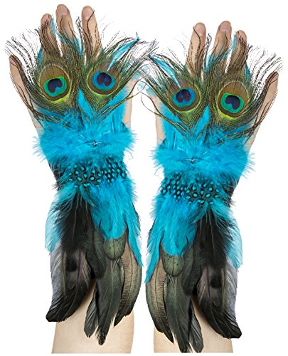 Amscan Womens Peacock Feather Gloves Halloween Costume Accessory (Peacock Girls Costume)