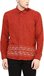 Y.U.V.I. Men's Cotton Slim Fit Casual Shirt (11113062-XL, Maroon, X-Large)