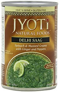 Jyoti Natural Foods Delhi Saag, Spinach and Mustard Greens, 15-Ounce Cans (Pack of 12)
