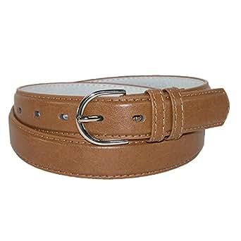 CTM® Womens Leather 1 1/8 Inch Basic Dress Belt, M, Tan
