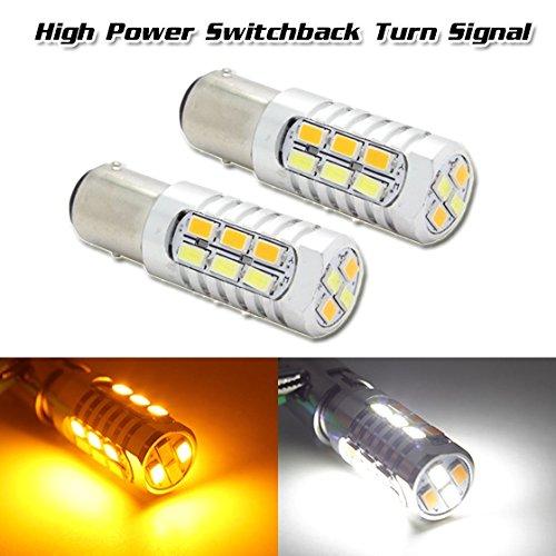 Partssquare 2X 1157 2357 Switchback High Power Led Amber White Turn Signal Corner Light Bulb For 2008-2012 Subaru Impreza