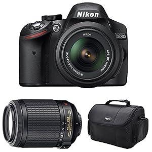 Nikon D3200 Digital SLR Camera & 18-55mm G VR DX AF-S & 55-200mm Zoom Lens