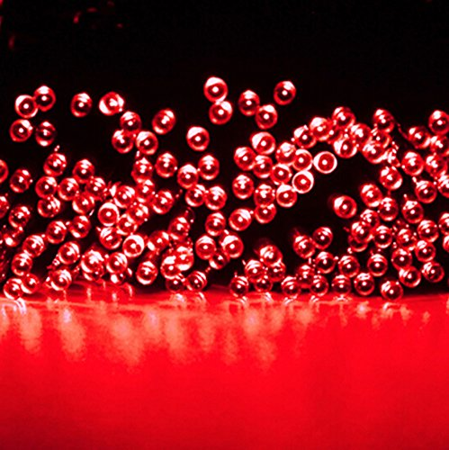 Amars(Tm) 66Ft/20M 200Leds Fairy Lights Solar Powered Holloween Christmas Party Waterproof Led String Lights For Outdoor Gardens Homes Red