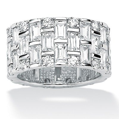Platinum/Silver Cubic Zirconia Eternity Band Size: 6