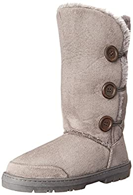 Womens Fur Lined Thick Sole Winter Snow Button Boots Grey, Size : 10B(M)US , 8B(M)UK