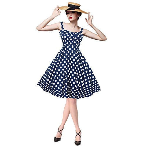 Maggie Tang Women's 1950s Vintage Rockabilly Dress Polka dots Pin up dress