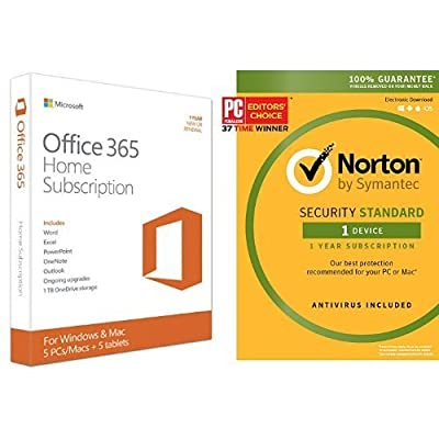 Microsoft Office 365 Home 1 Year | 5 PC or 5 Mac Key Card and Norton Security Standard - 1 Device [Key Card]