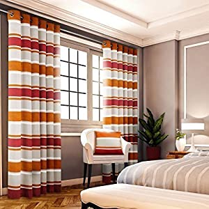 """Chenille Jacquard Striped Orange Red 90x72"""" 229x183cm Lined Ring Top Curtains from Curtains"""