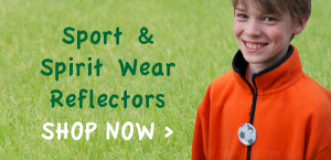 sports and spirit wear themed reflectors for pedestrians and runners