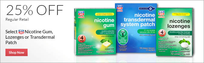Select Rite Aid Brand Nicotine Gum, Lozenges or Transdermal Patch, 25% OFF. Shop Now