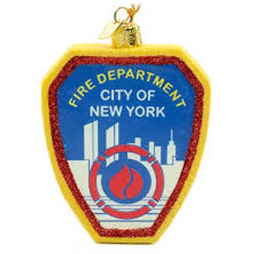 Glass FDNY Shield ornament