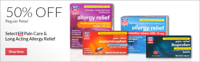 Select Rite Aid Brand Pain Care & Long Acting Allergy Relief, 50% OFF, 25% OFF. Shop Now