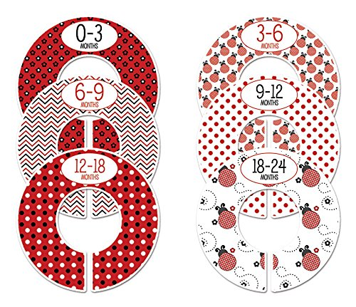 #C133 Ladybug Boy Baby Closet Dividers Clothes Organizers Set Of 6 Red Black