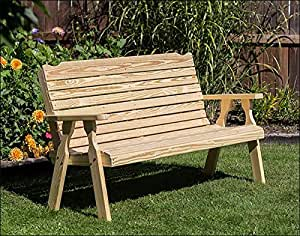 "64"" Treated Pine Crossback Garden Bench"