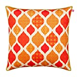 "India Circus Diamonds of Citrine Poly Velvet Cushion Cover - 16"" x 16"", Multicolour"