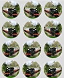 12 Steam Train rice paper fairy cup cake 40mm toppers pre cut decoration