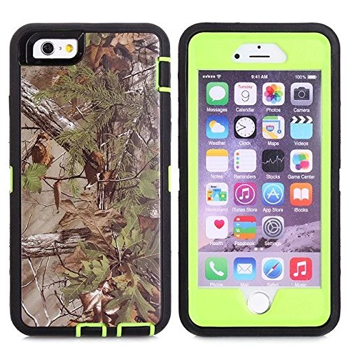 For Iphone 6s Case - FiversTM Heavy Duty 3 in 1 Three Advantages Waterproof Dustproof Shakeproof with Forest Camouflage Desig Cell Phone Cases for Iphone 6s 47 Inch Tree- Green