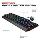 RIOTORO Ghostwriter Cherry MX Brown Mechanical Keyboard with Customizable Prism RGB, 1ms Response Time, NKRO, and Dual USB Ports. Includes 2 Magnetic Detachable Wrist Rest