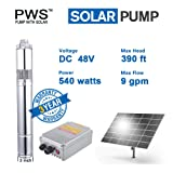 PWS 48V 540 Watts Stainless Steel 316 Submersible Solar Water Well Pump Kit, JS3-2.1-120